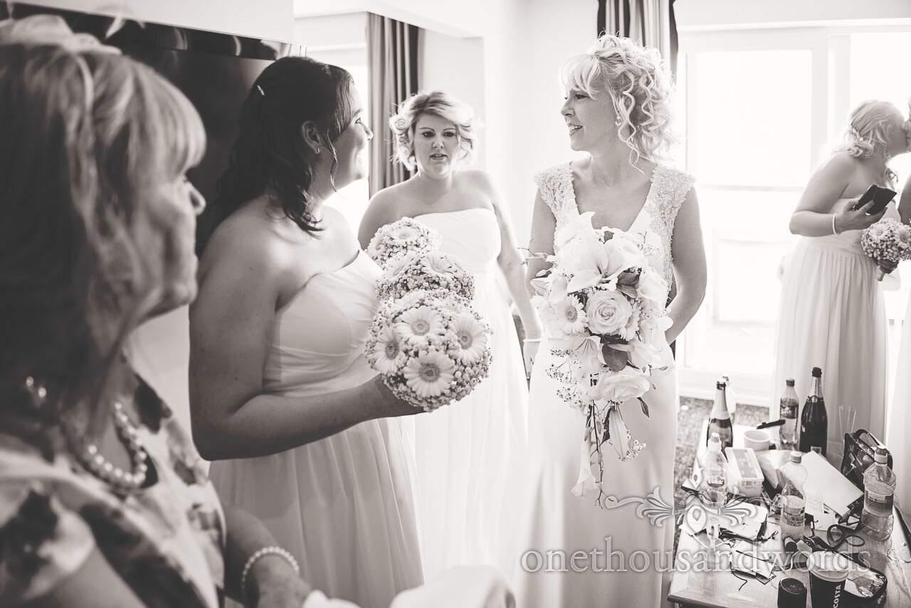 Bride and her Bridesmaids on morning of Sandbanks Hotel Wedding