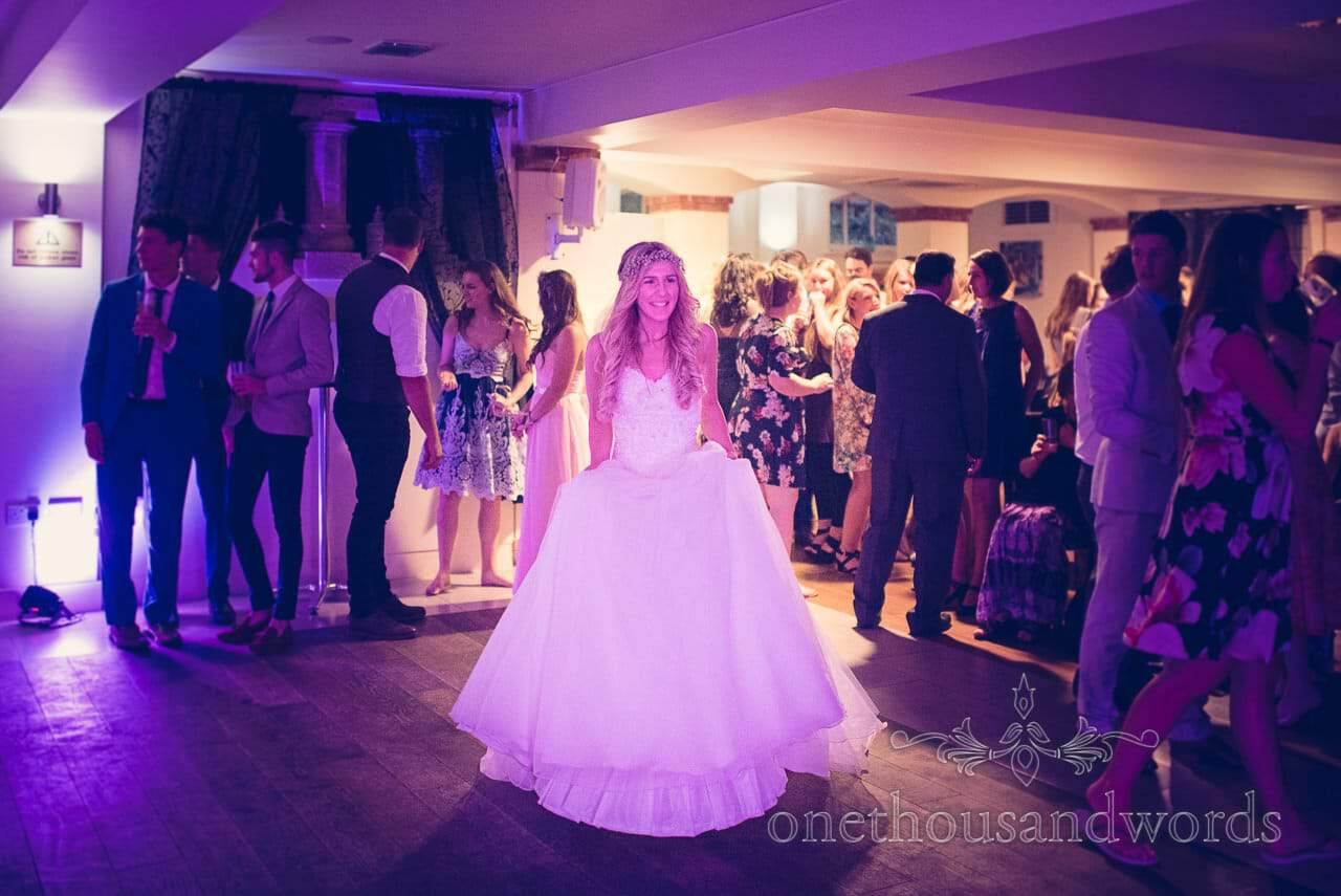Bride on dancefloor at italian villa wedding photographs