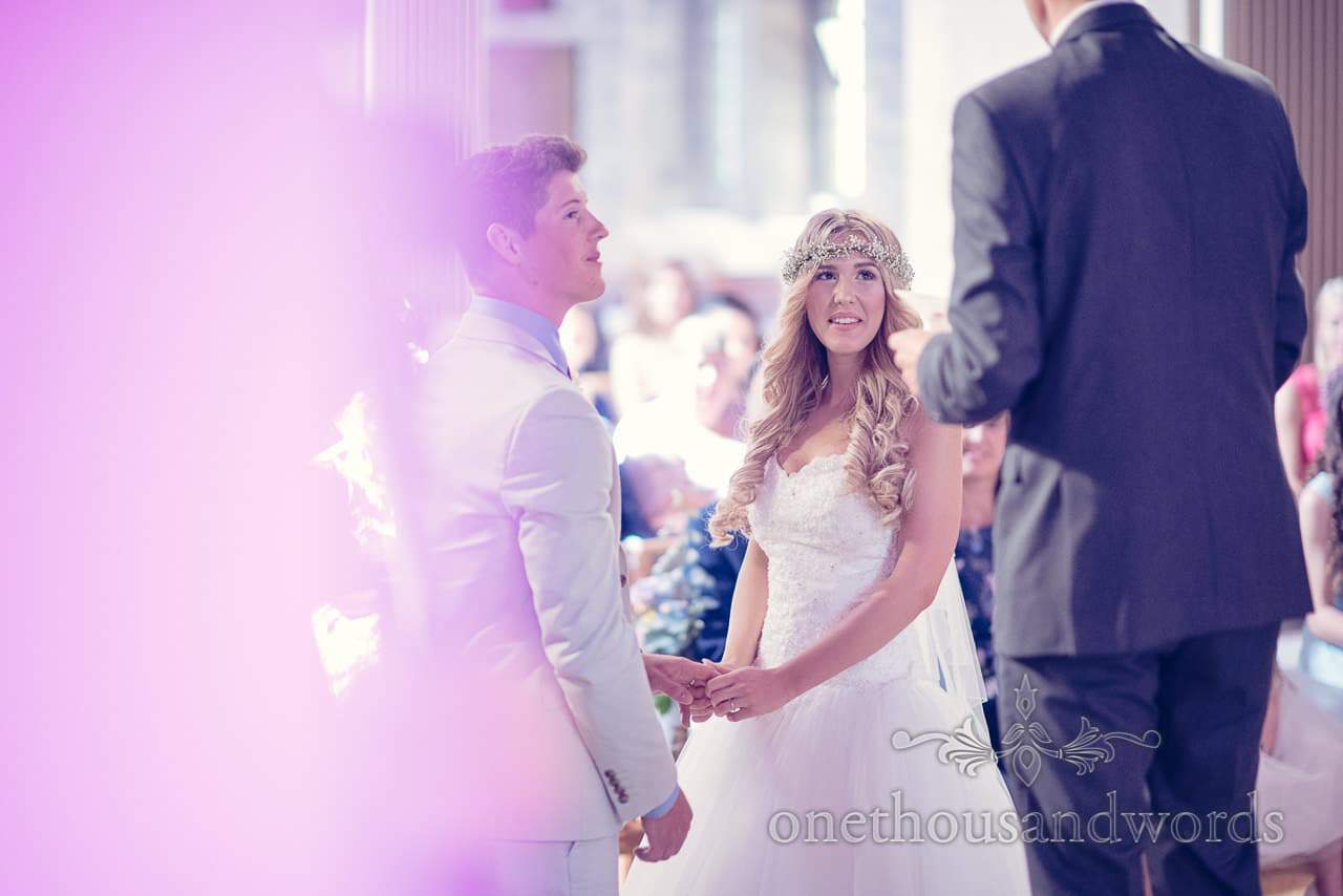 Bride portrait photograph during wedding vows at St Marys Longfleet Church wedding ceremony
