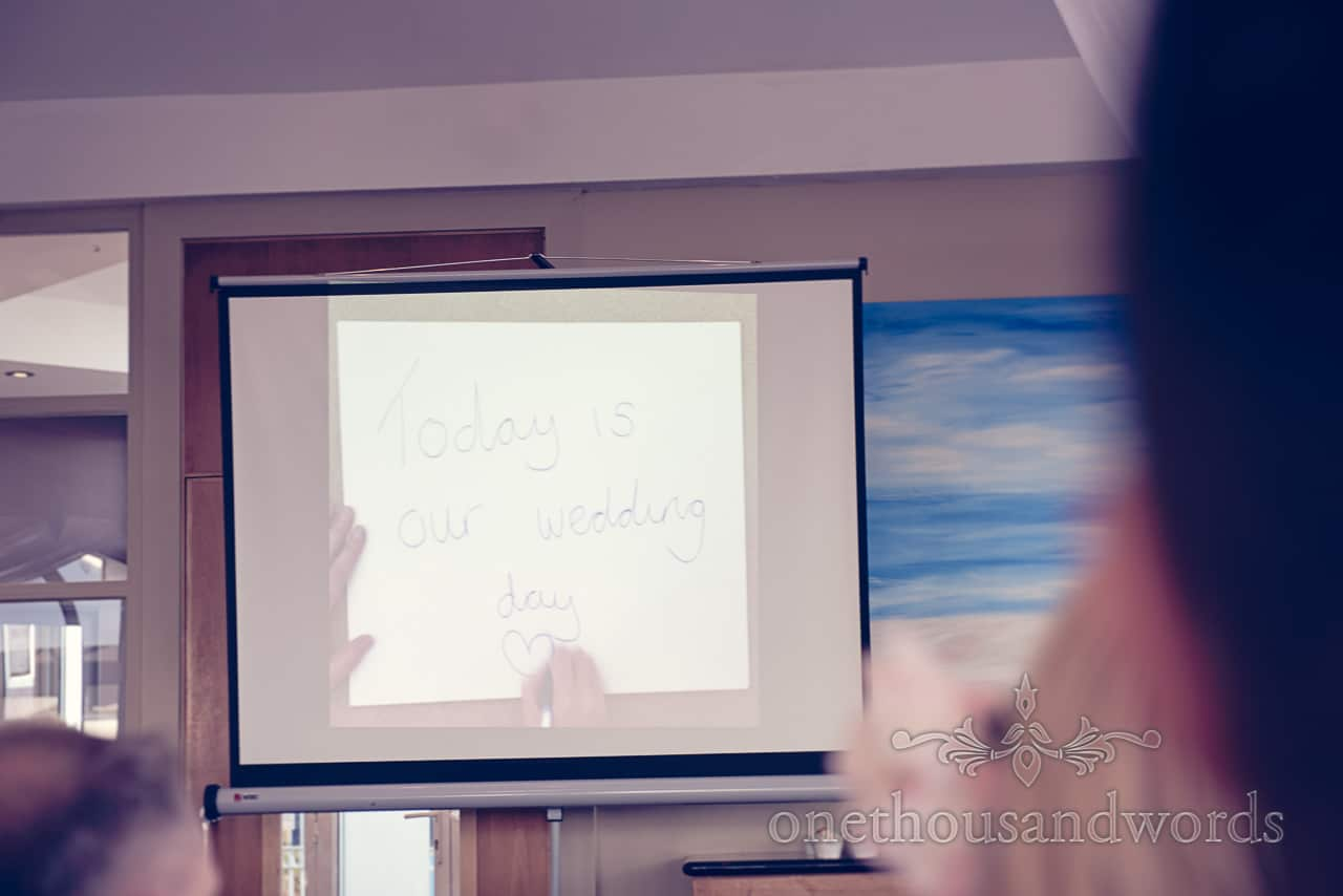 Brides video presentation speech at Sandbanks Hotel Wedding