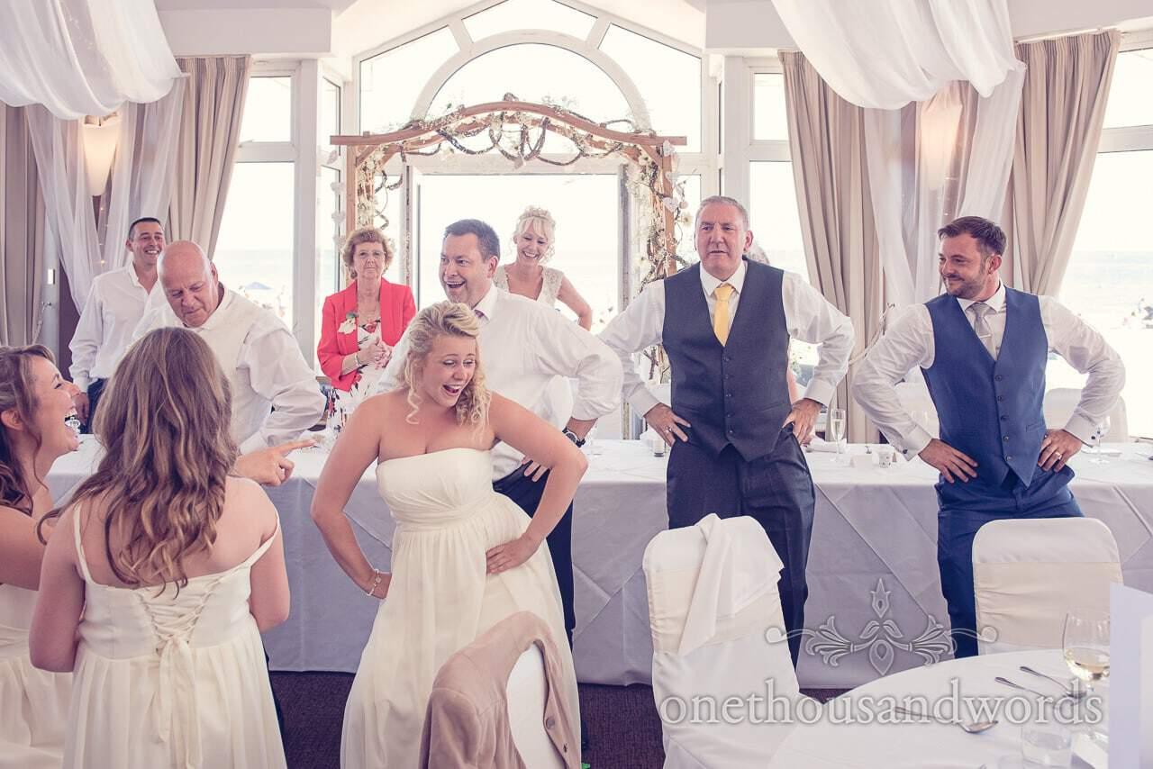 Bridesmaid choreographs dancing at Sandbanks Hotel Wedding