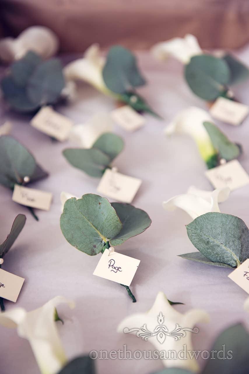 Buttonholes on morning of Sandbanks Hotel Wedding