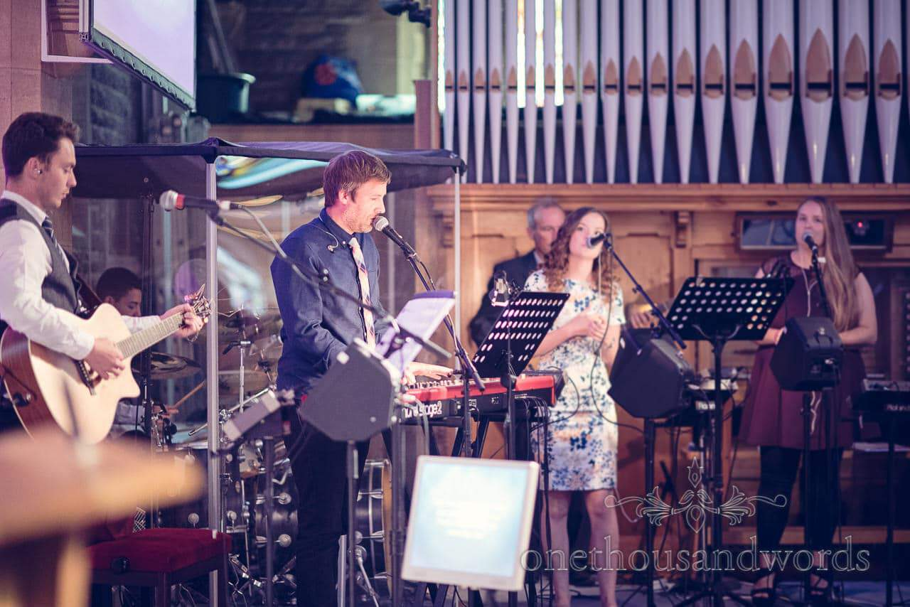 Christian music band at St Marys Longfleet church wedding ceremony in Poole