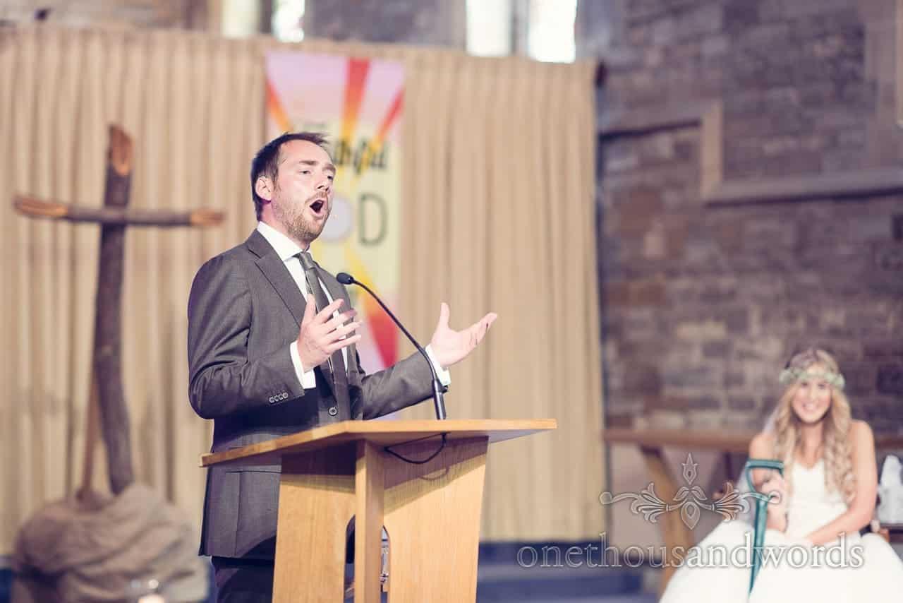 Christian preacher at St Marys Longfleet Church wedding ceremony in Poole