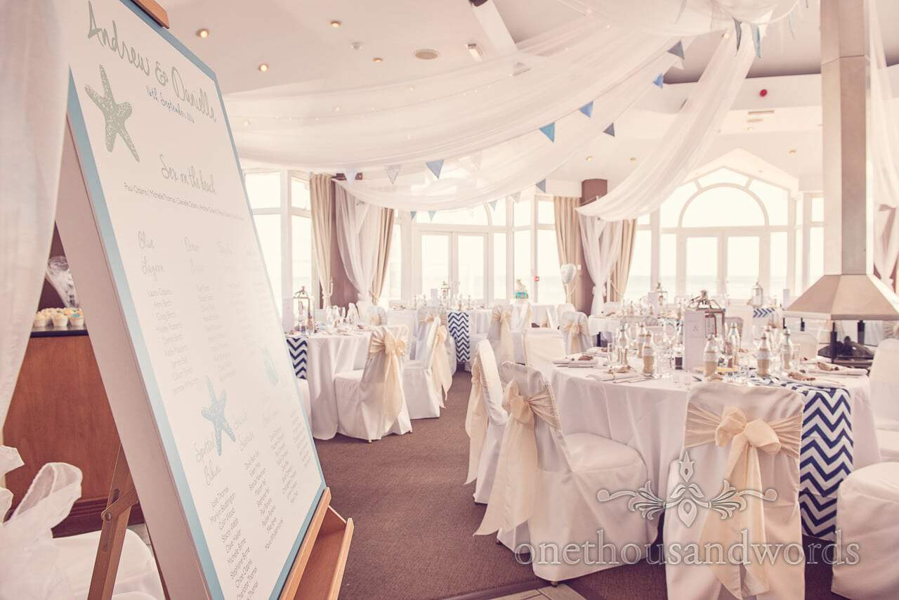 Compass Suite at Sandbanks hotel dressed for seaside theme wedding photographs