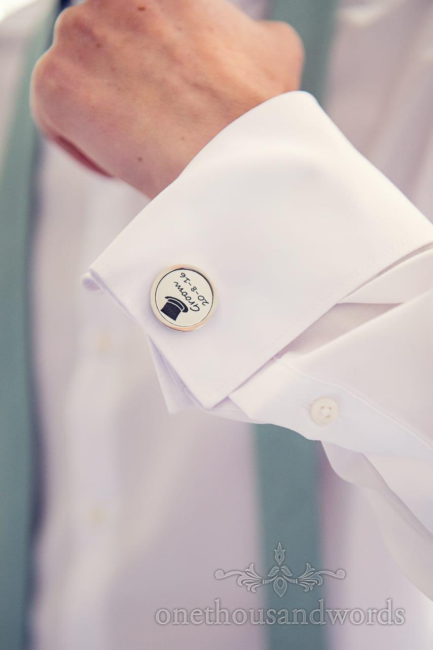 Custom groom round cufflinks with top hat and wedding date