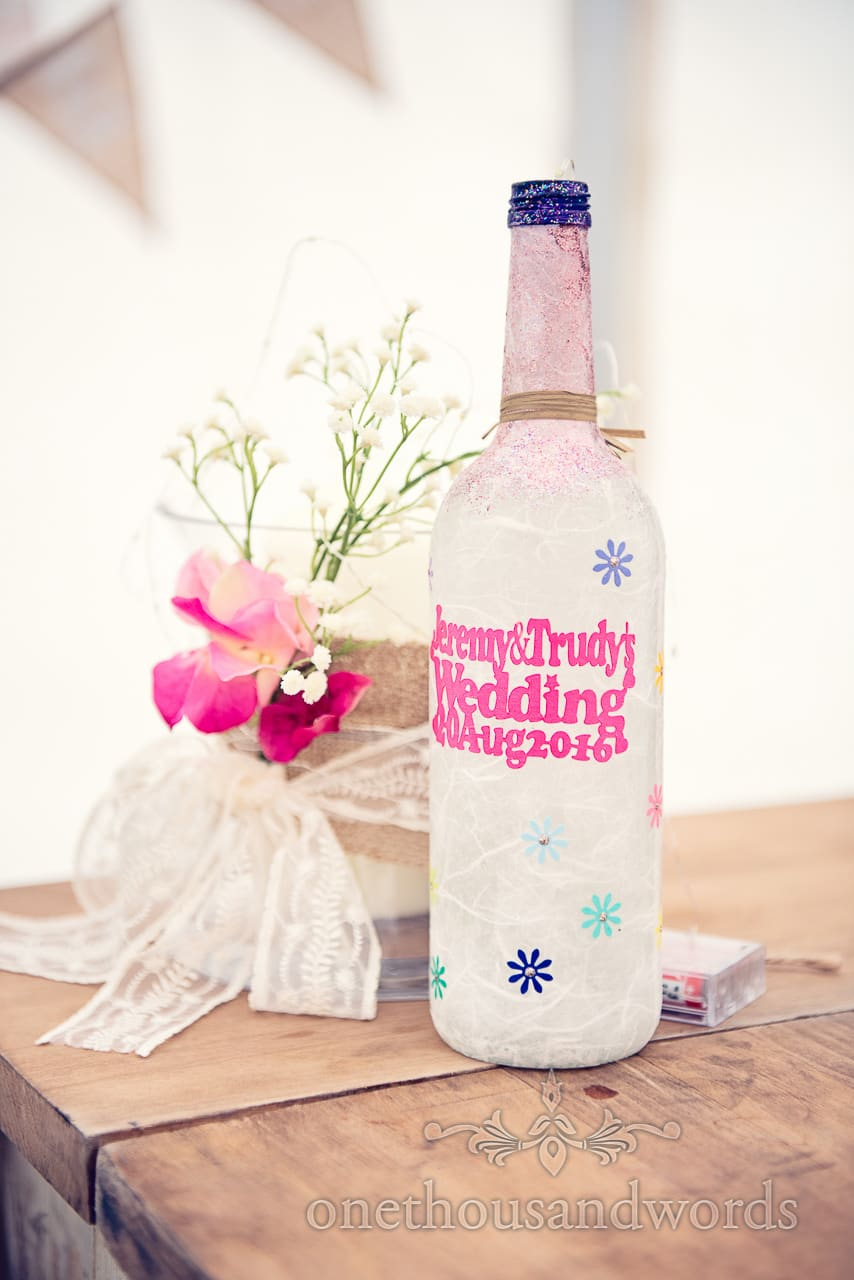 Customised wedding wine bottle with bride and grooms names and wedding date