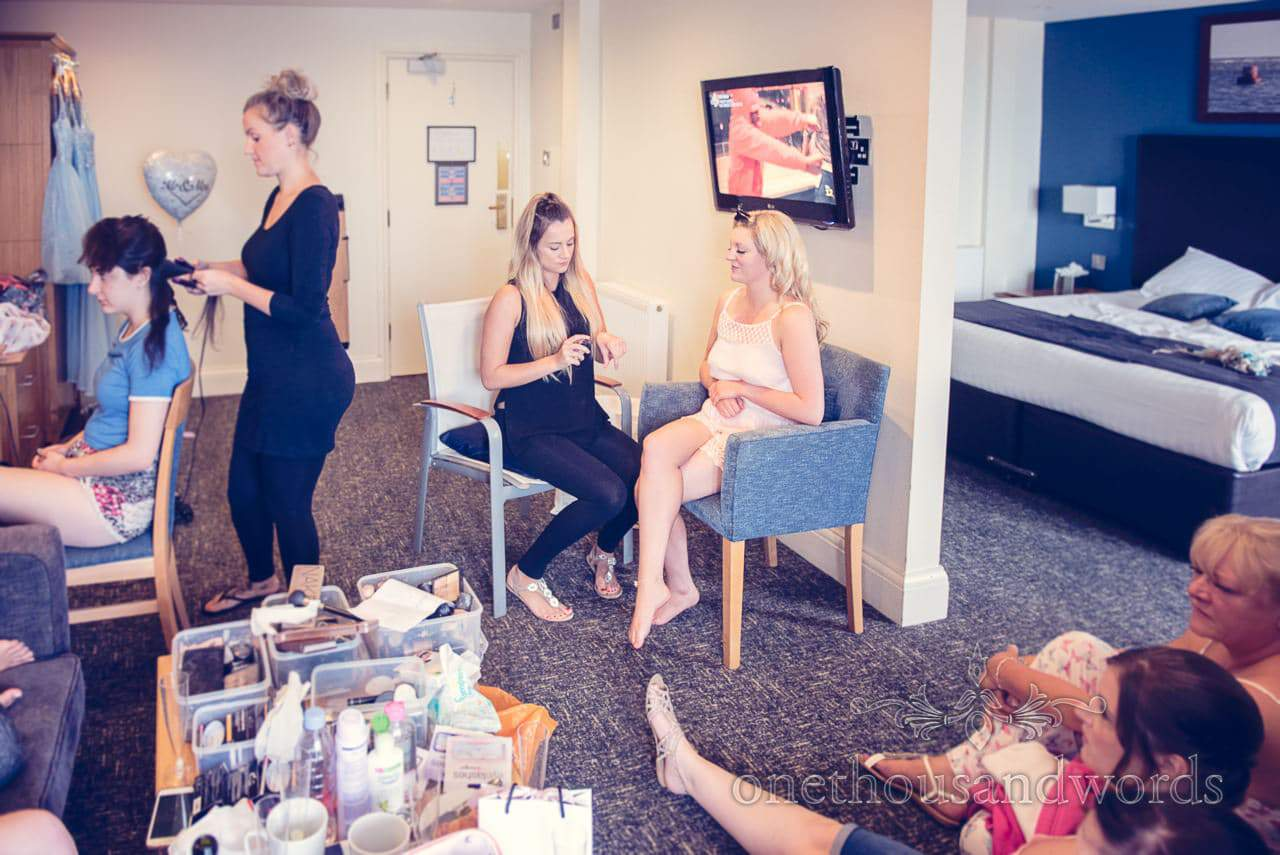 Documentary wedding photograph of bridal preparations at Sandbanks Hotel wedding