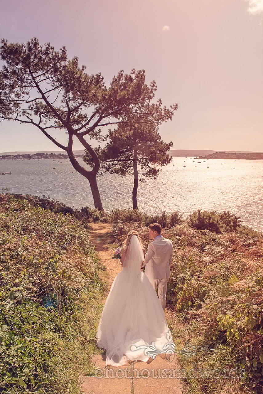 Evening Hill wedding photograph overlooking sea in Poole, Dorset