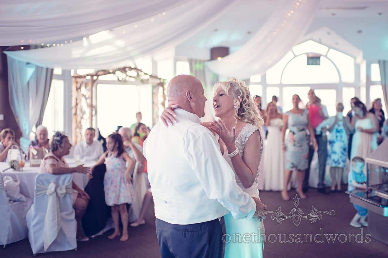 First dance at Sandbanks Hotel Wedding in the compass room