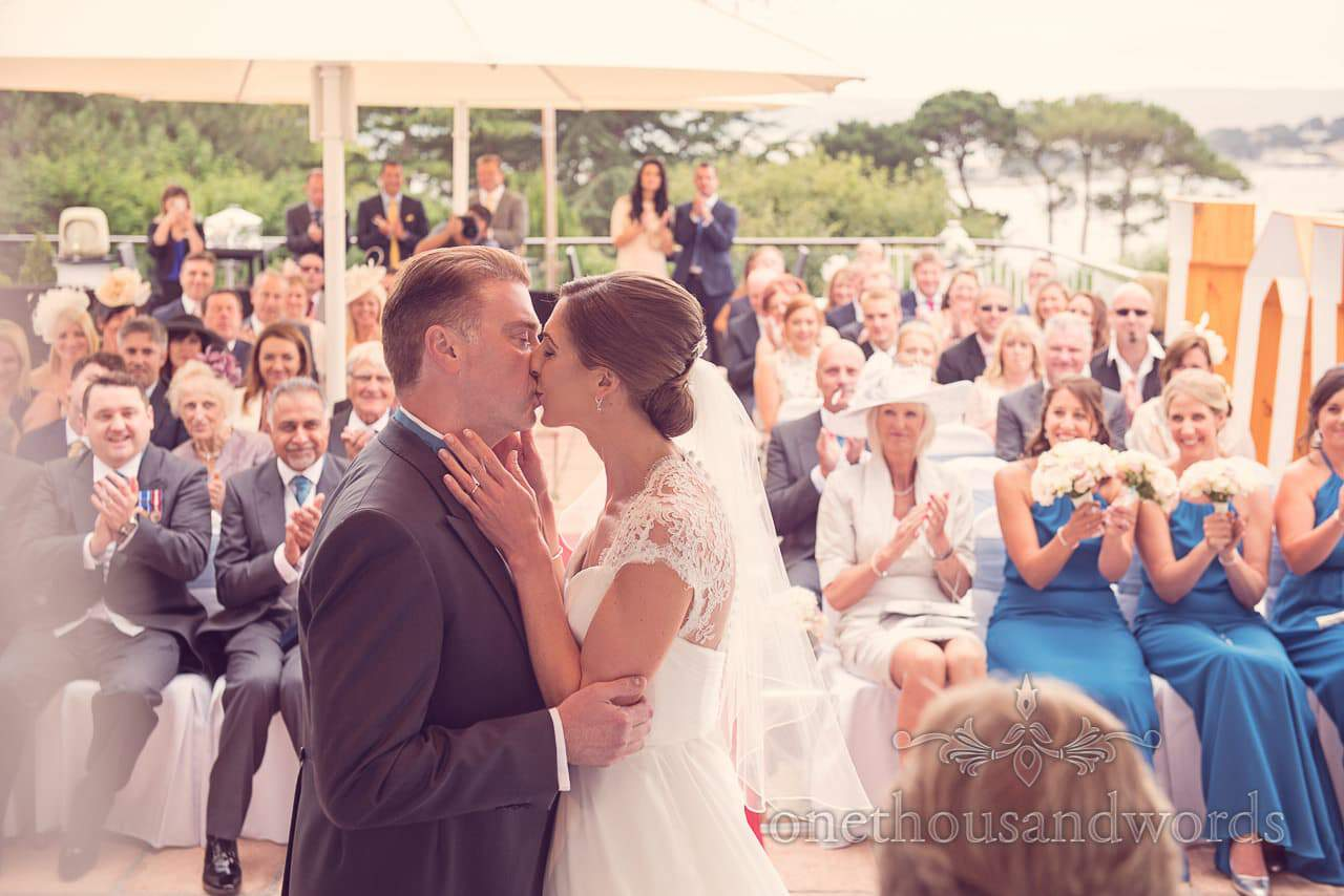 First kiss at Harbour Heights hotel wedding photographs