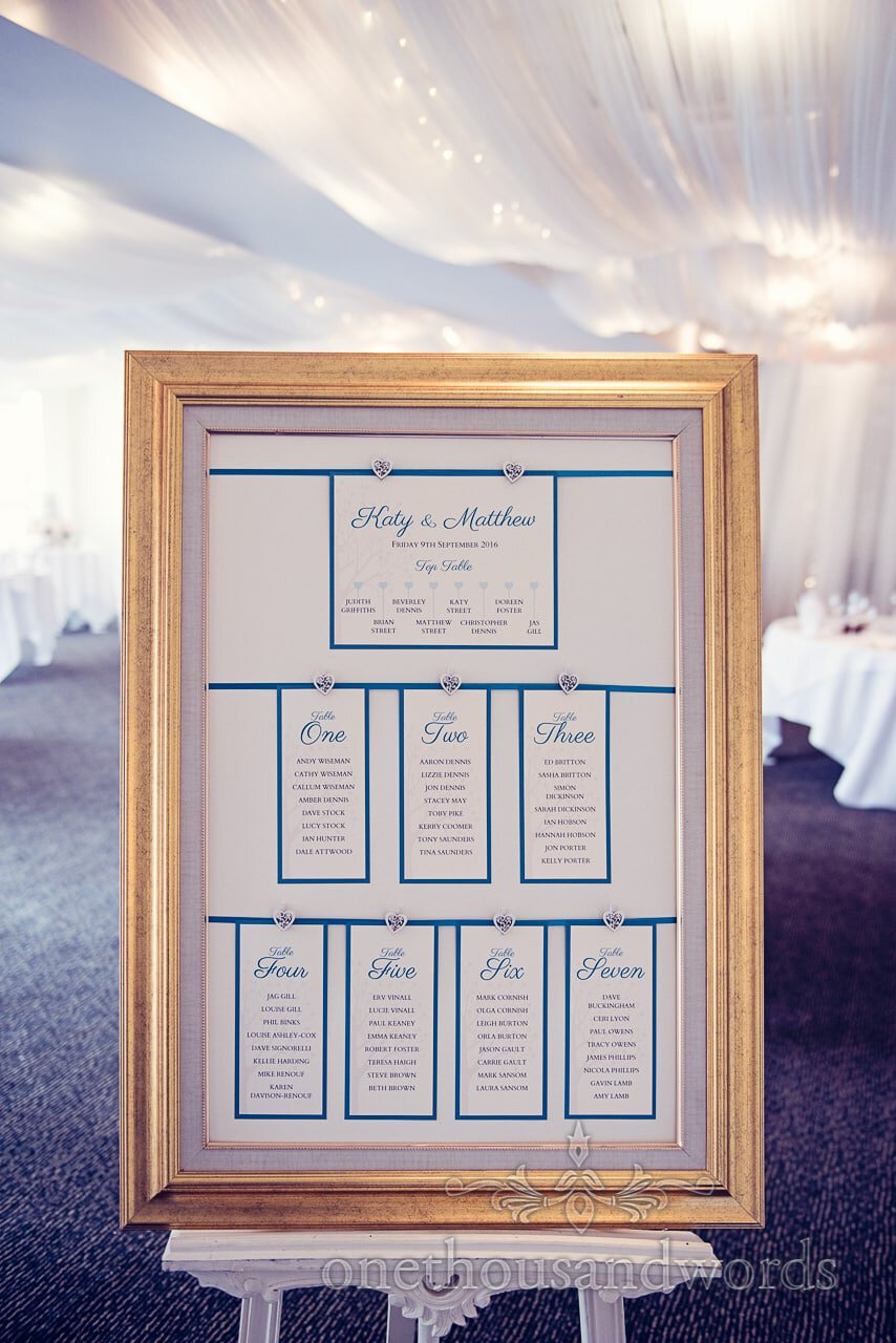Gold framed table plan at Harbour Heights wedding