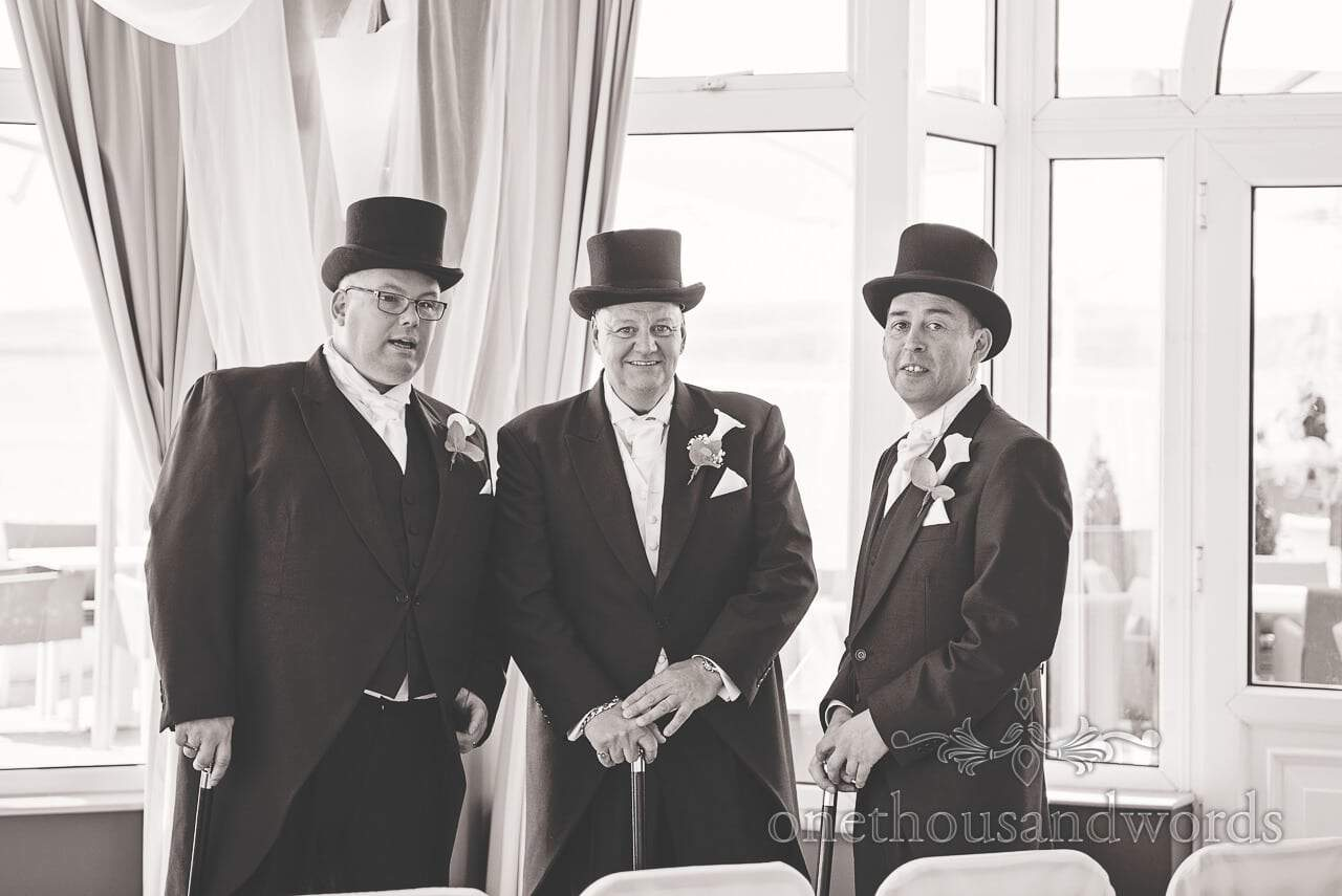 Groom and Best men in top hats on morning of Sandbanks Hotel Wedding