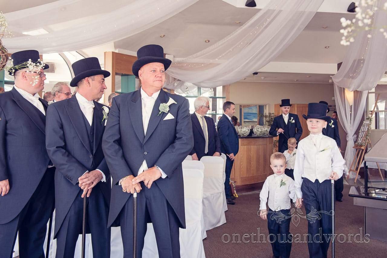 Groom awaits his bride at Sandbanks Hotel Wedding