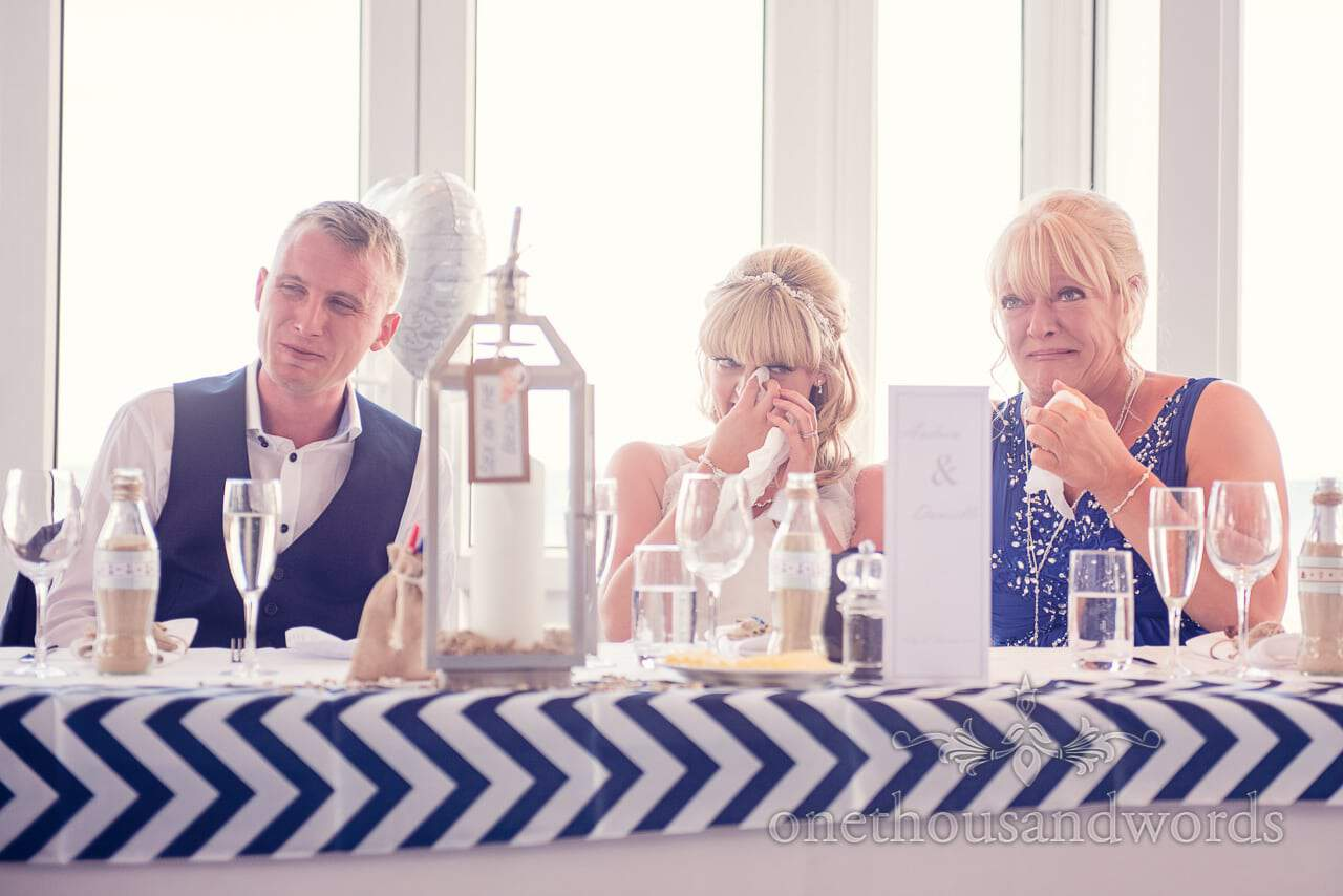 Groom, Bride and mother of bride cry during wedding speeches