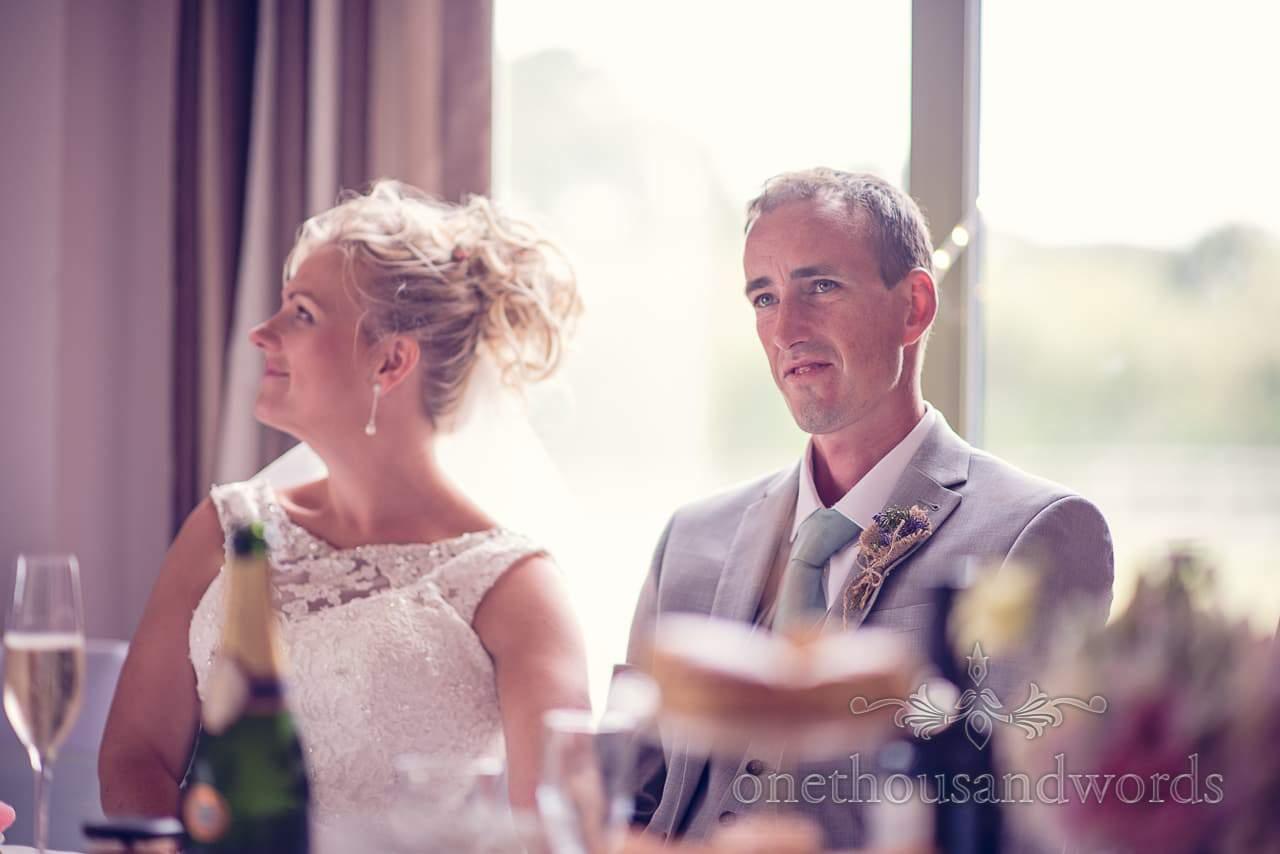Groom portrait photograph during wedding speeches at Harmans Cross Wedding
