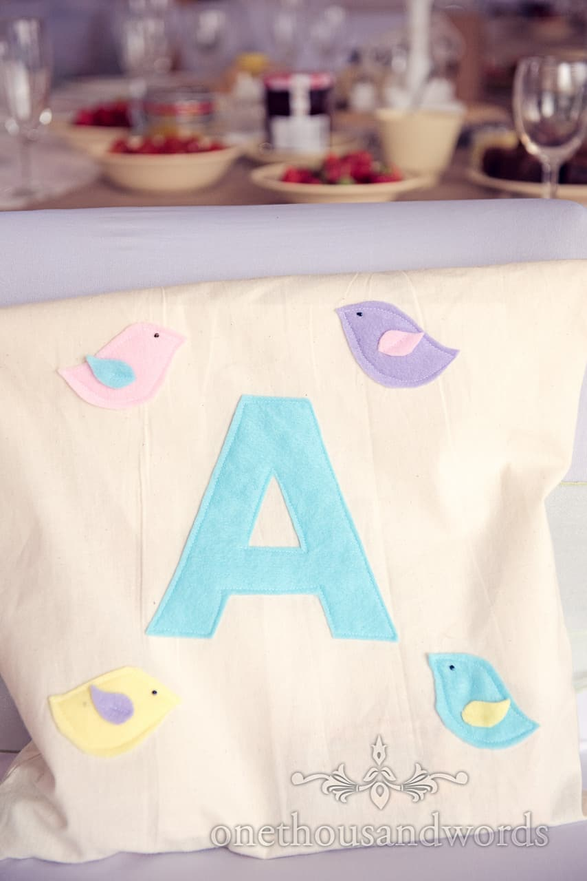 hand made wedding gift bag for child guests with initial and birds