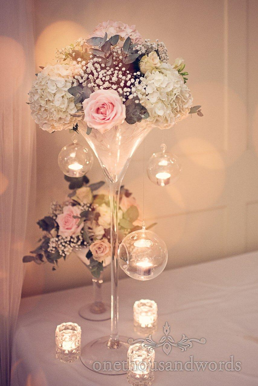 Harbour Heights wedding photographs of pastel wedding flower arrangement