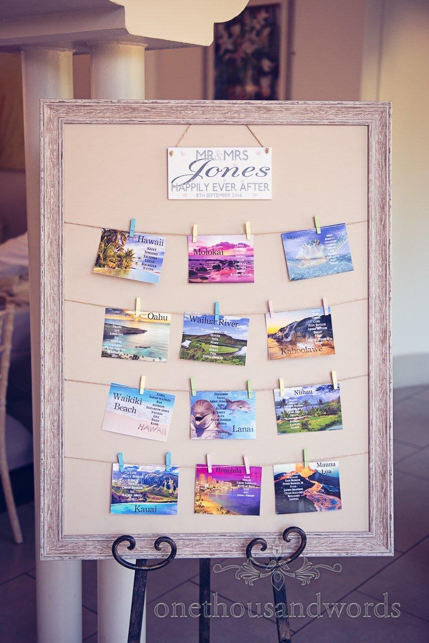 hawaiian themed postcard wedding table plan at Italian Villa Wedding