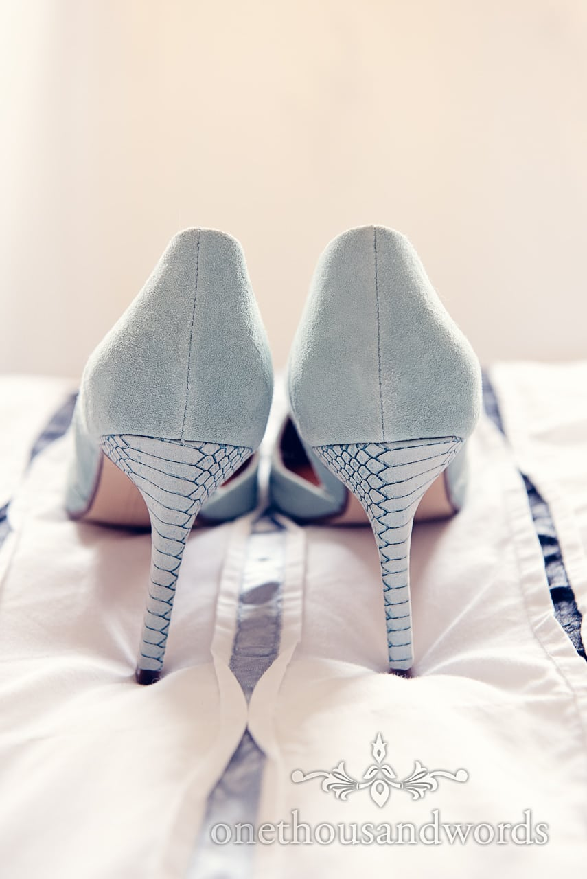 High heeled Green suede wedding shoes with snake skin pattern on heels