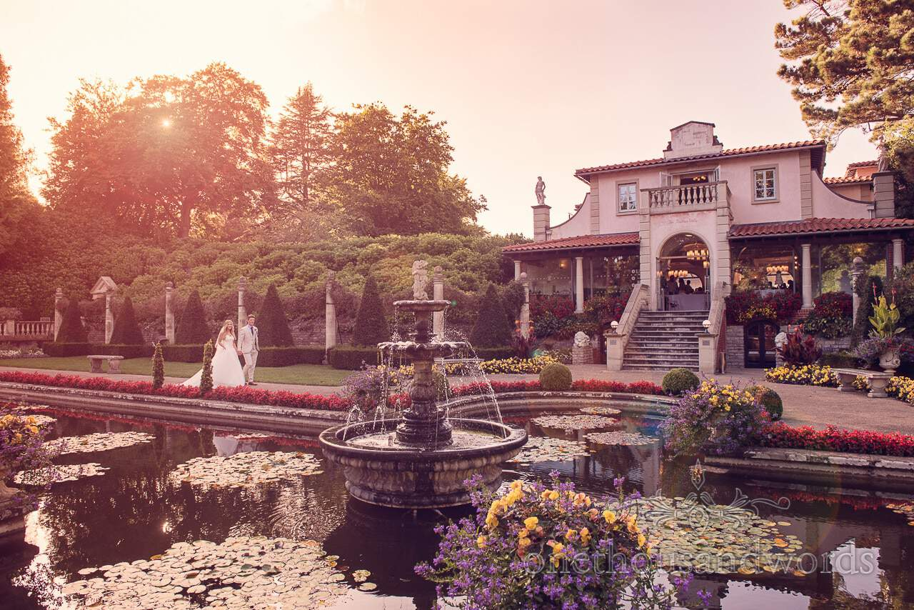 Italian Villa Wedding Venue in Dorset wedding photograph at sunset