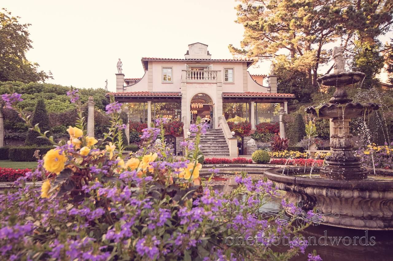 Italian Villa wedding venue in Dorset with flower gardens and water fountain