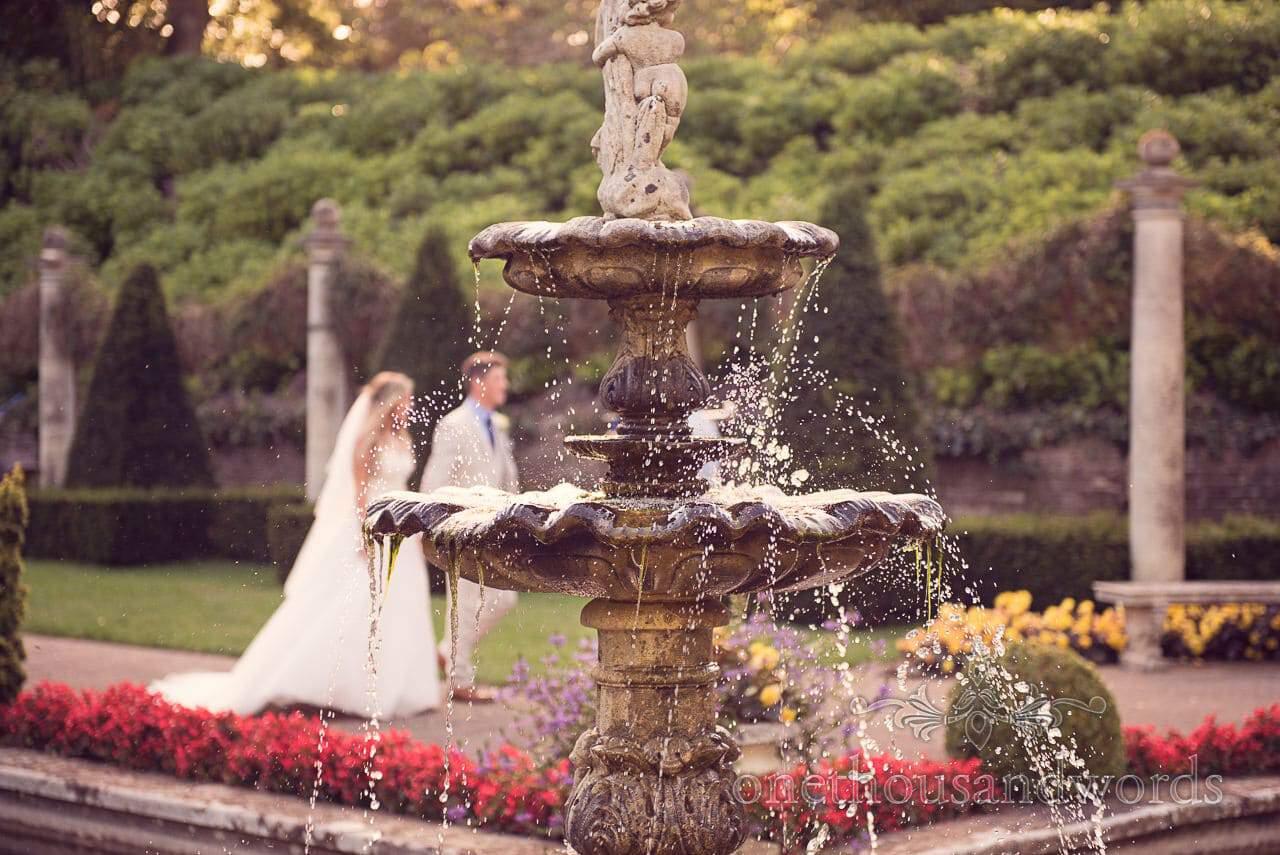 Italian water fountain at italian villa wedding photographs