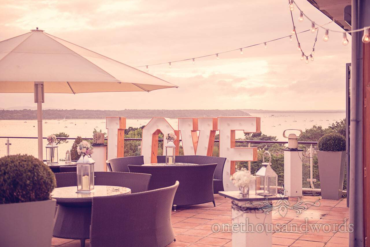 Love letters and sea view from harbour heights hotel wedding photographs
