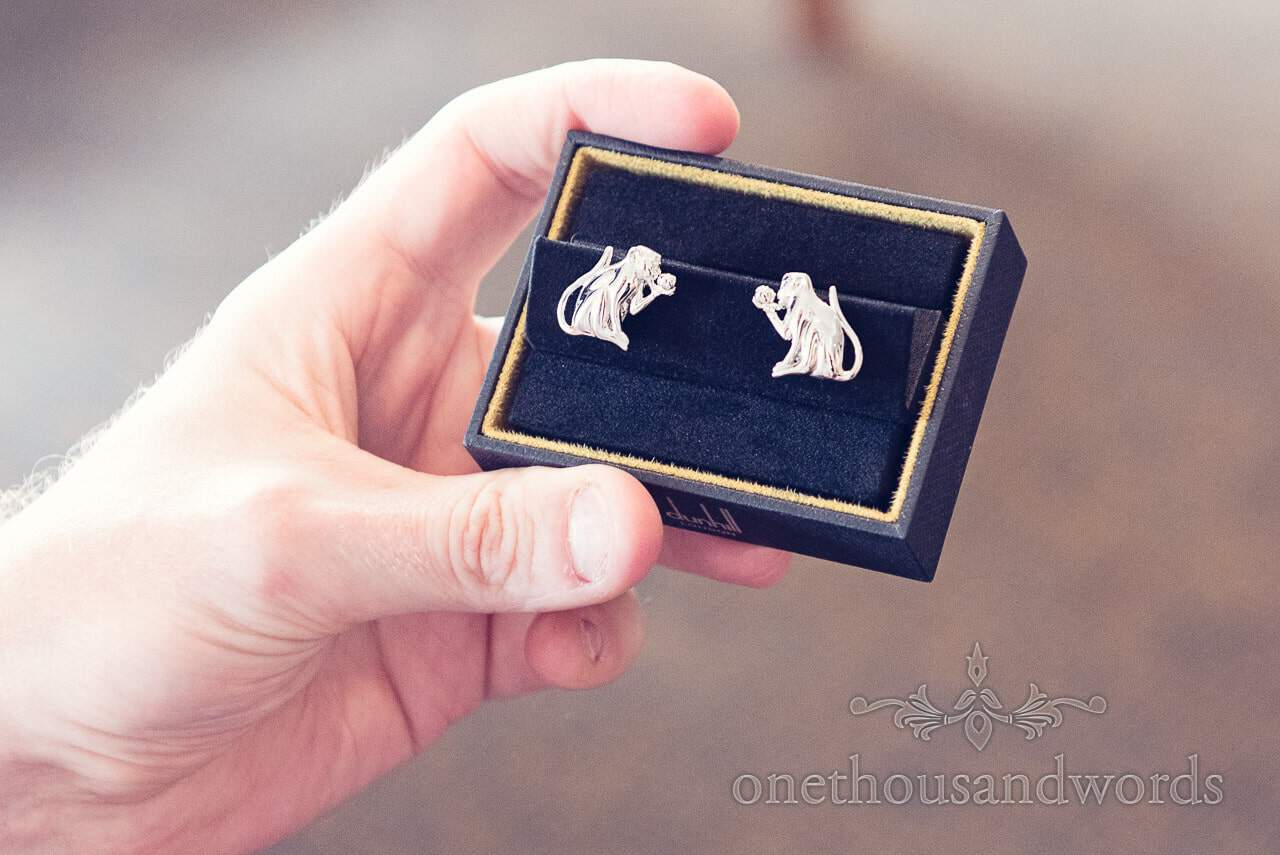 Monkey detail cuff links at Harbour Heights wedding