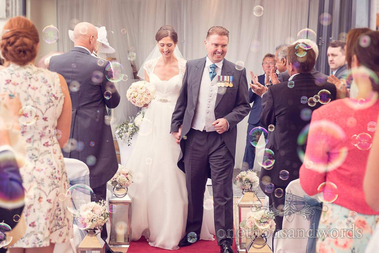 Newlyweds showered with bubbles at Harbour Heights wedding