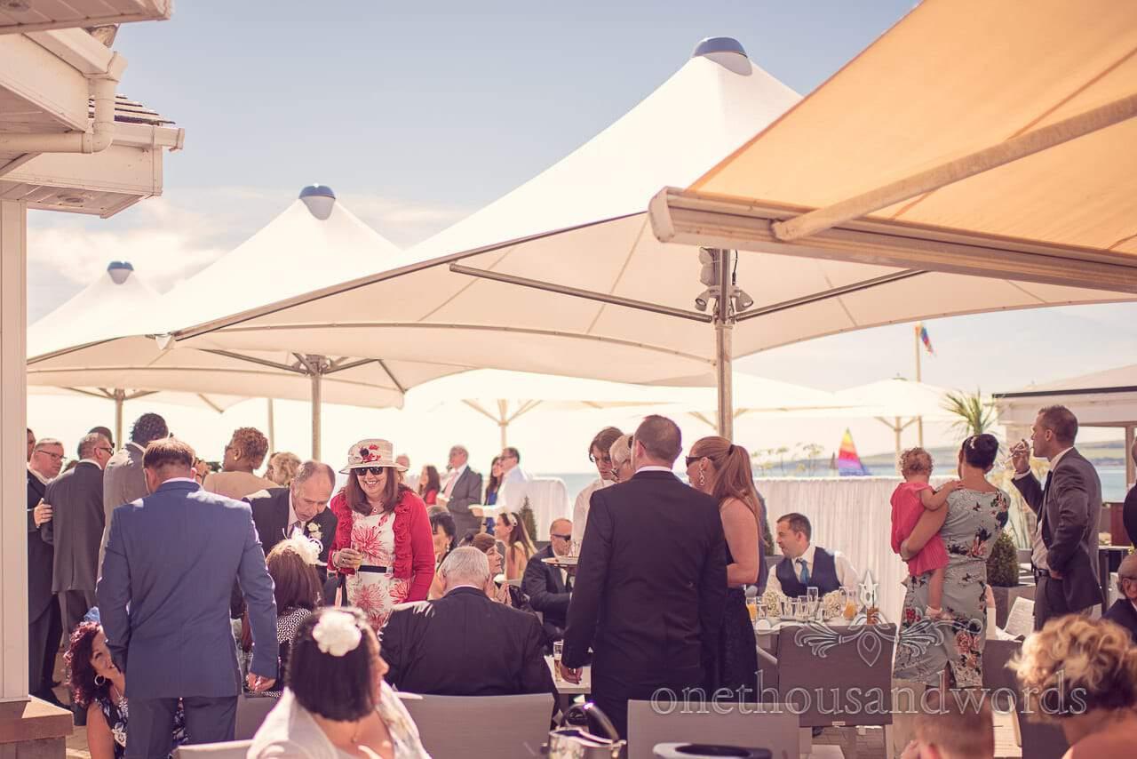 Outdoor Wedding drinks reception at Sandbanks Hotel Wedding