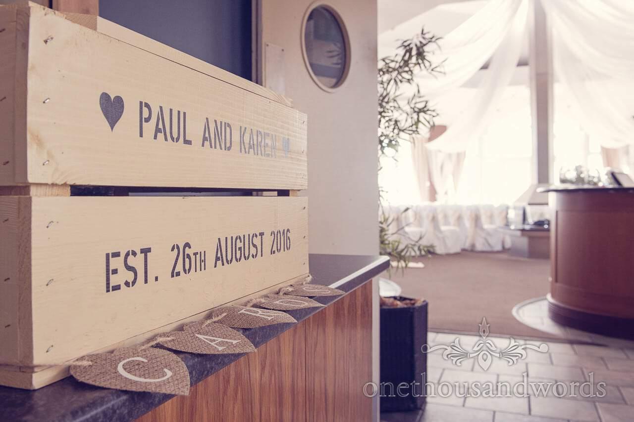 Personalized wedding cards box at Sandbanks Hotel Wedding