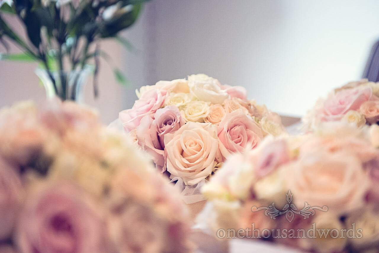 Pink and yellow rose bouquets at Harbour Heights wedding