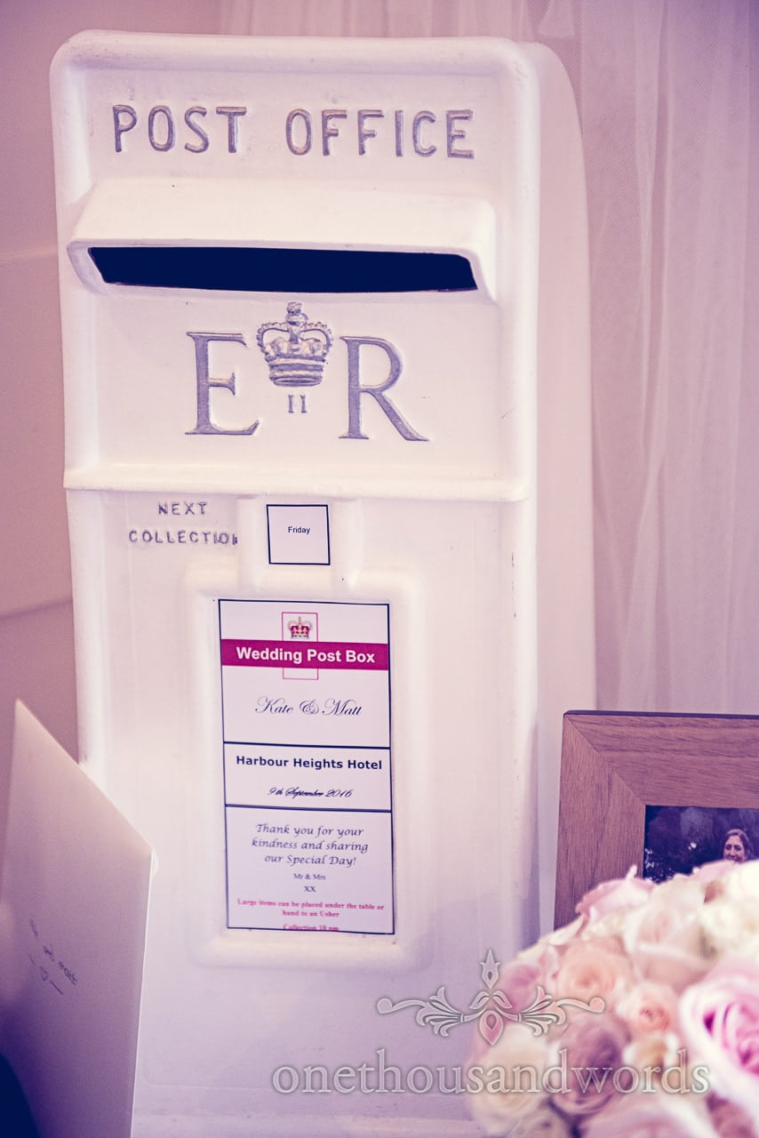Post office box for wedding cards at Harbour Heights Hotel