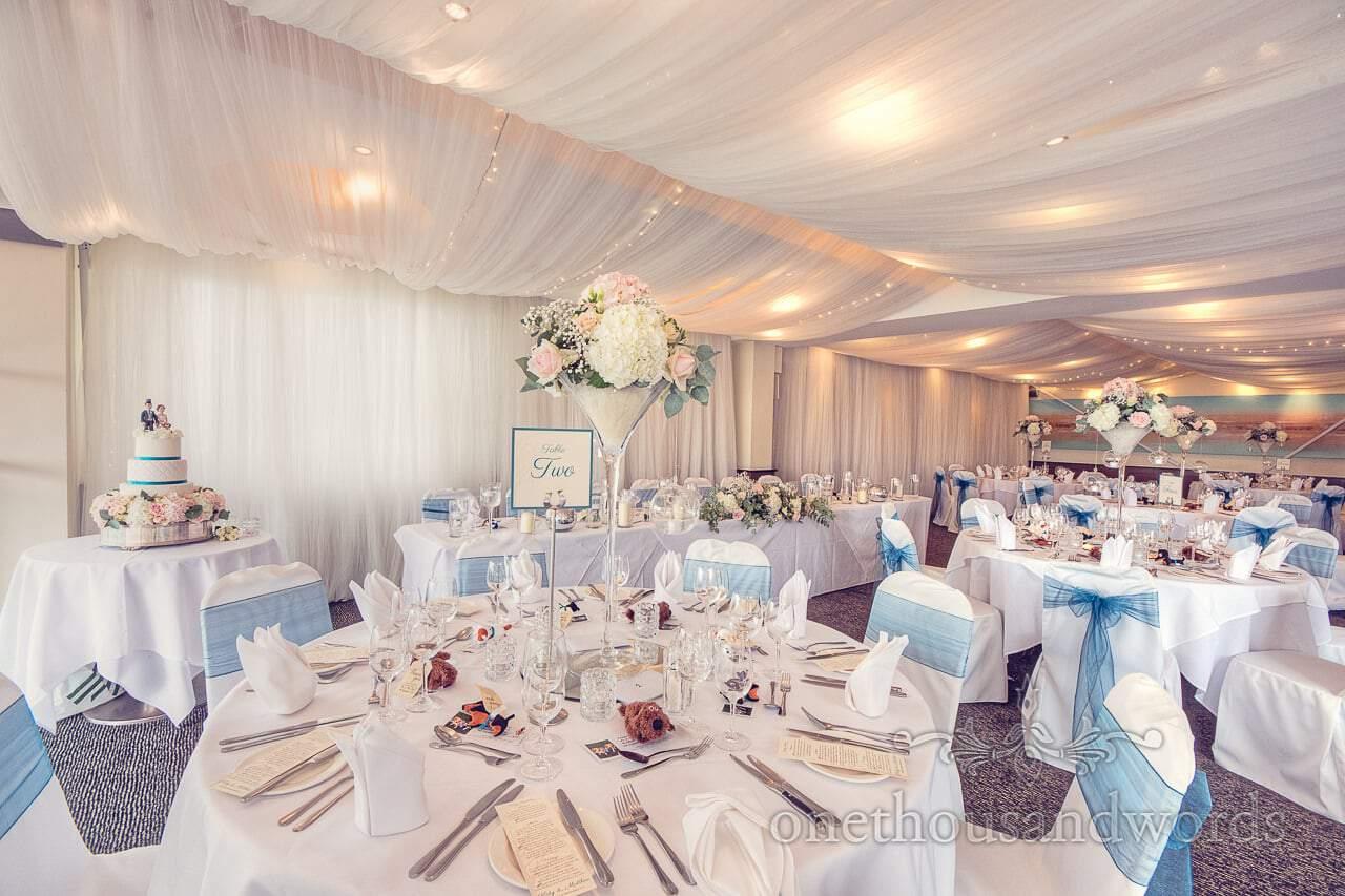 Harbour Heights hotel wedding photographs of wedding breakfast room decorations