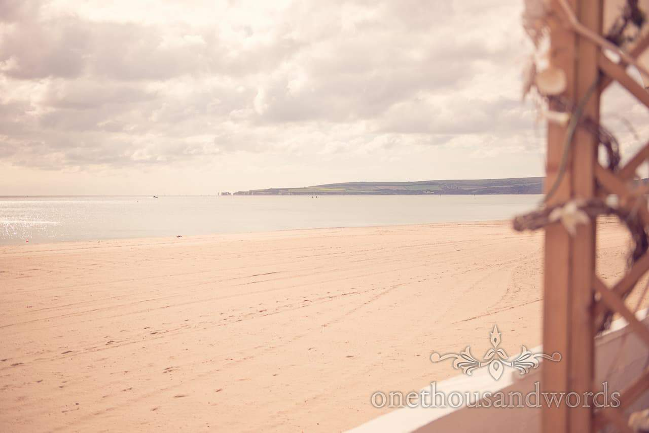 Sandbanks beach on wedding morning of seaside theme wedding in Dorset