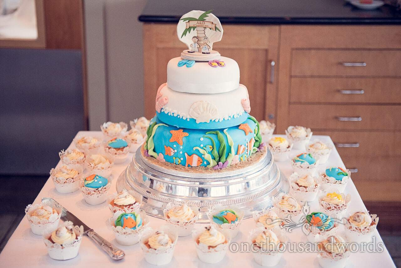 seaside theme wedding photographs cake and cupcakes at Sandbanks Hotel Wedding