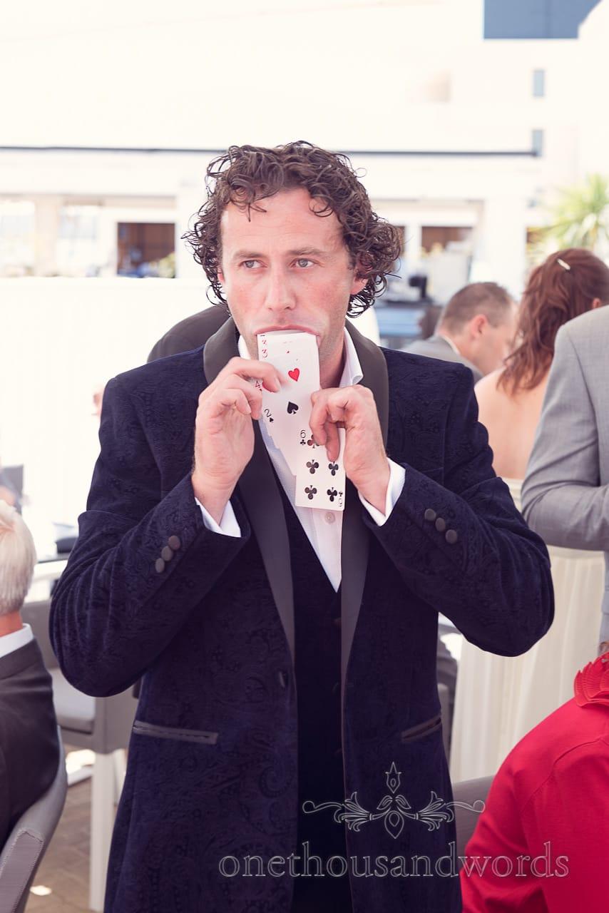 Sean Haydon wedding magician vomits playing cards at Sandbanks Hotel Wedding