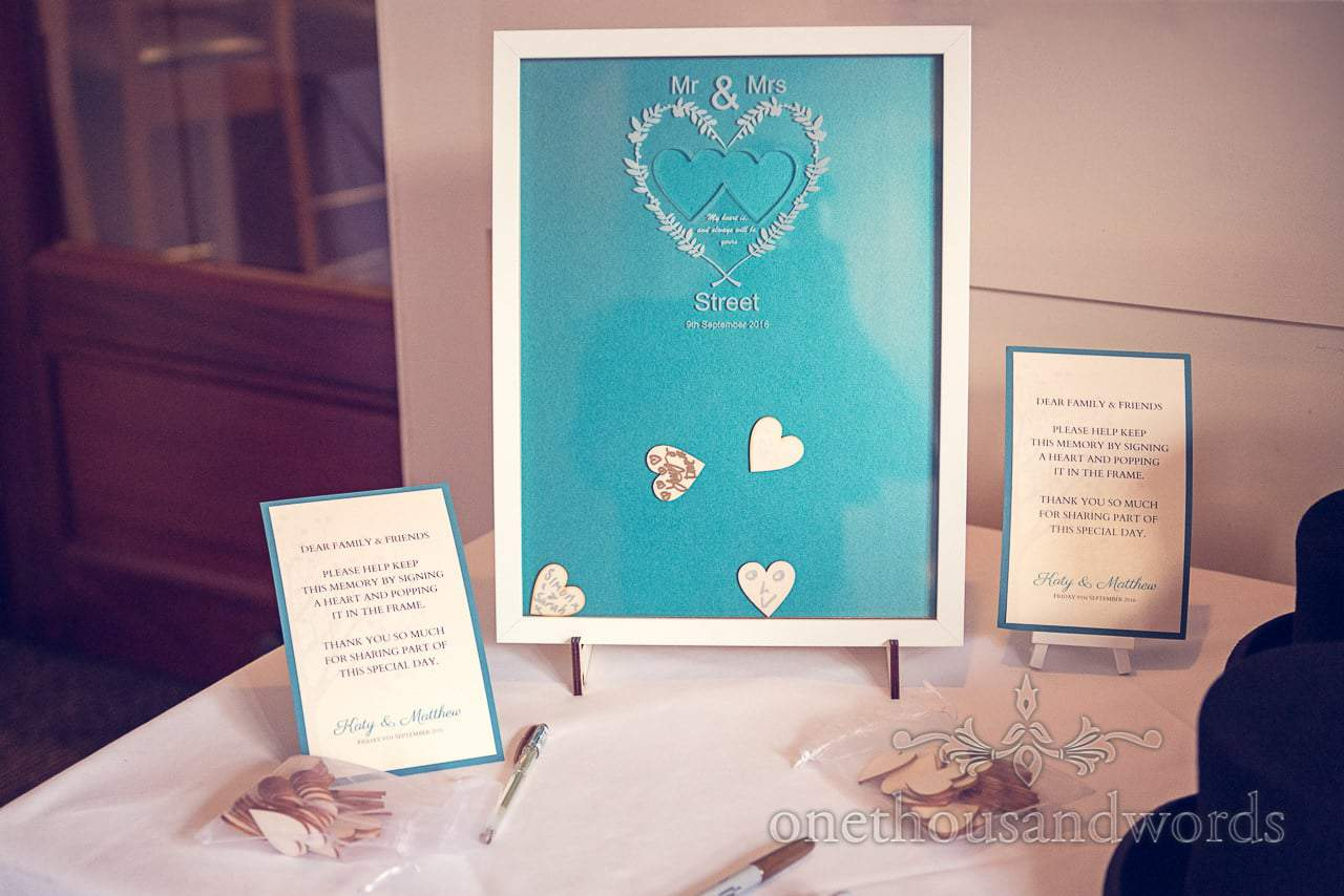Signing heart frame for guests at harbour heights wedding
