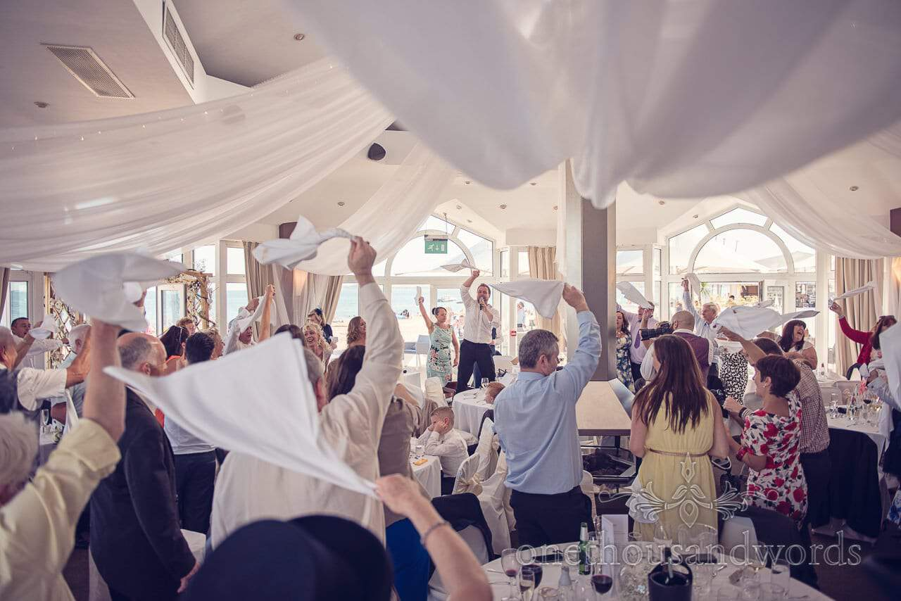 Silver service singers get the wedding guests moving at Sandbanks Hotel Wedding
