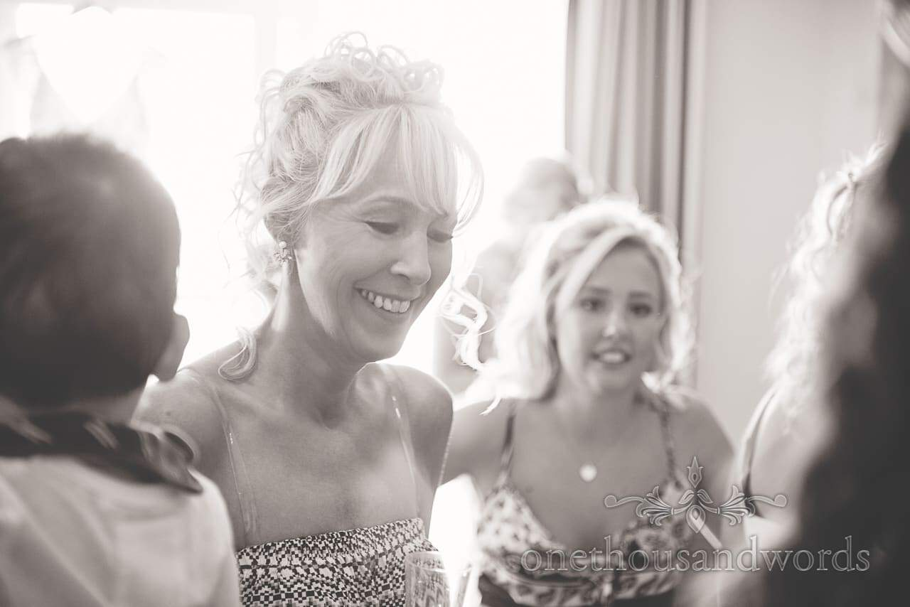 Smiling bride on morning of Sandbanks Hotel Wedding
