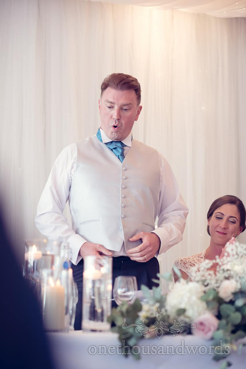 The groom during speech at harbour heights wedding
