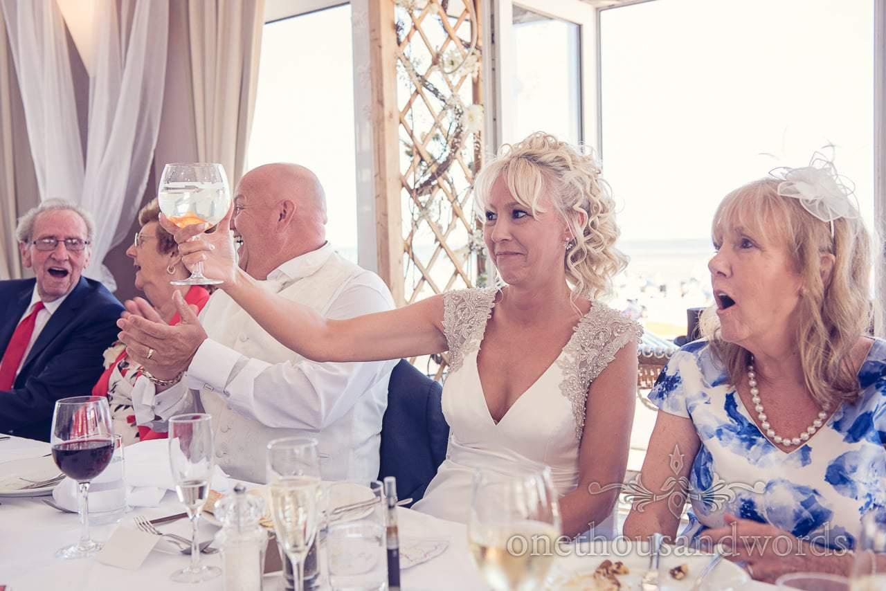 Top table's reaction to Sean Haydon's golfish magic trick at Sandbanks Hotel Wedding