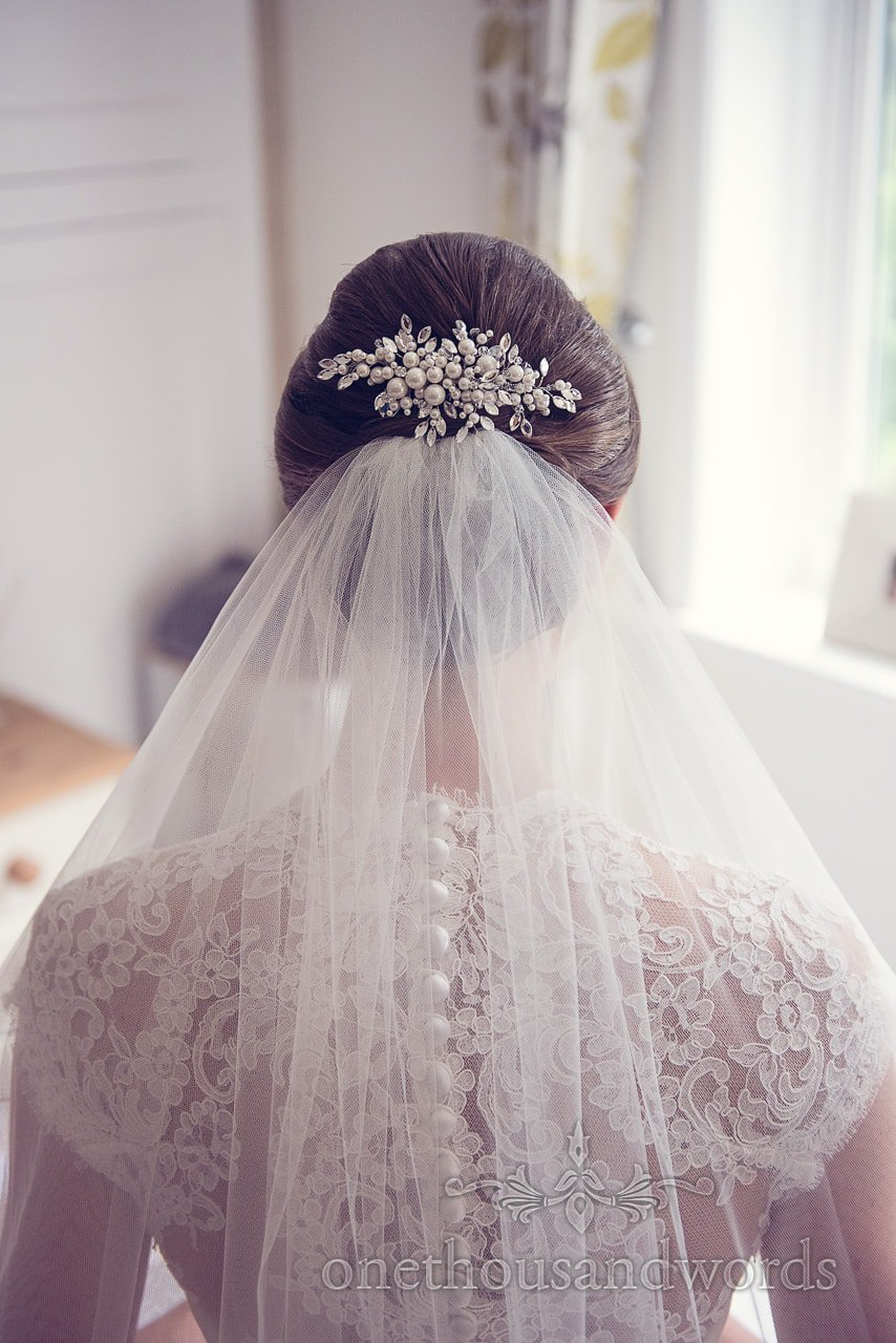 Veil and dress detail from Harbour Heights wedding photographs