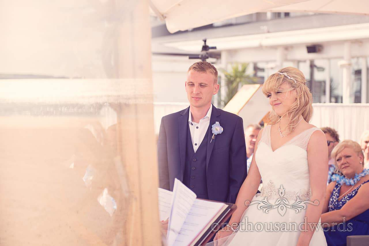 Wedding ceremony overlooking the sea at Sandbanks Hotel in Dorset