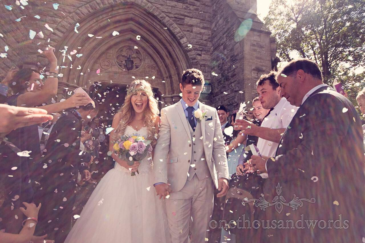 Wedding confetti outside St Mary's Longfleet Church in Poole, Dorset
