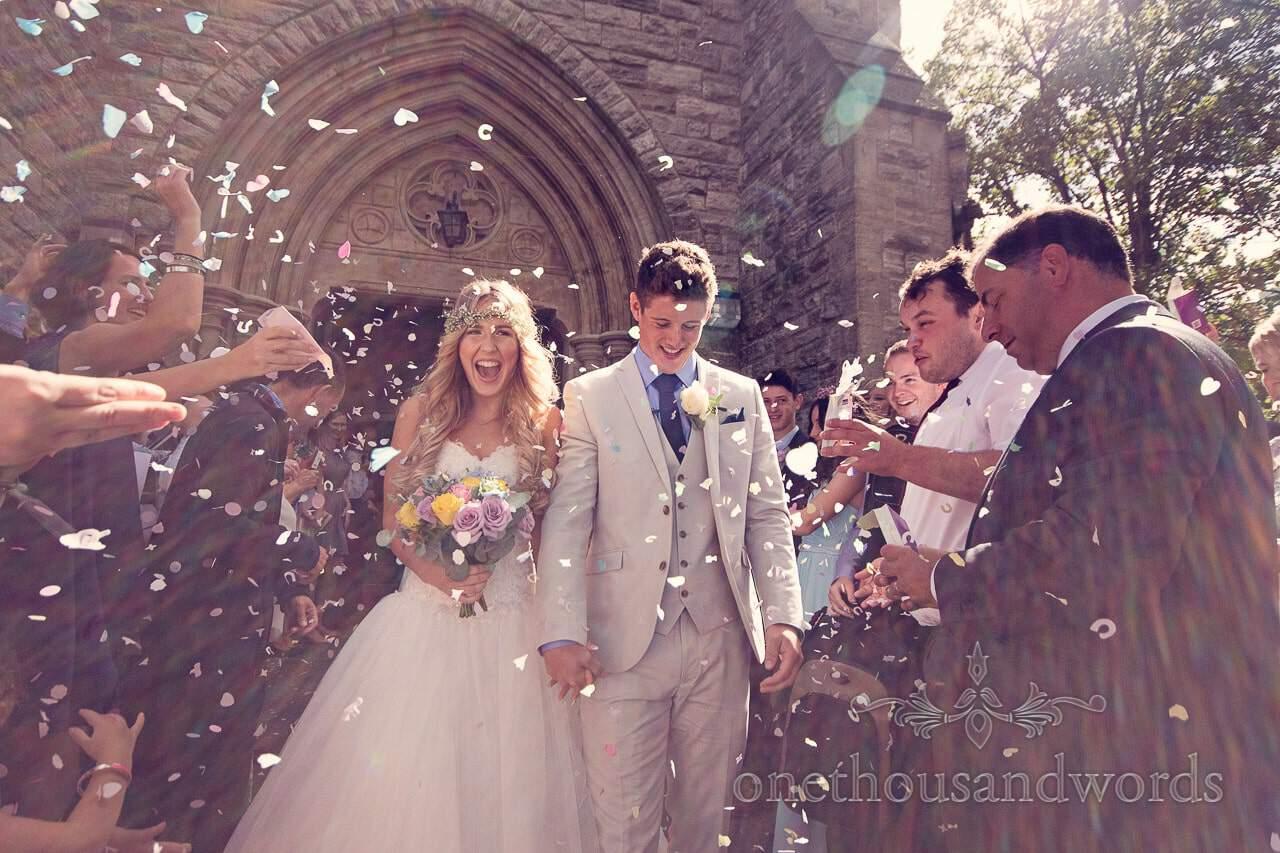 Wedding confetti outside St Mary's Longfleet Church in Poole, Dorset