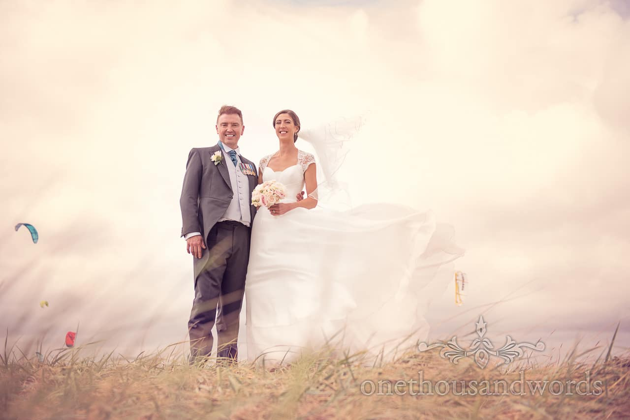 Wedding couple in sand dunes from Harbour Heights wedding