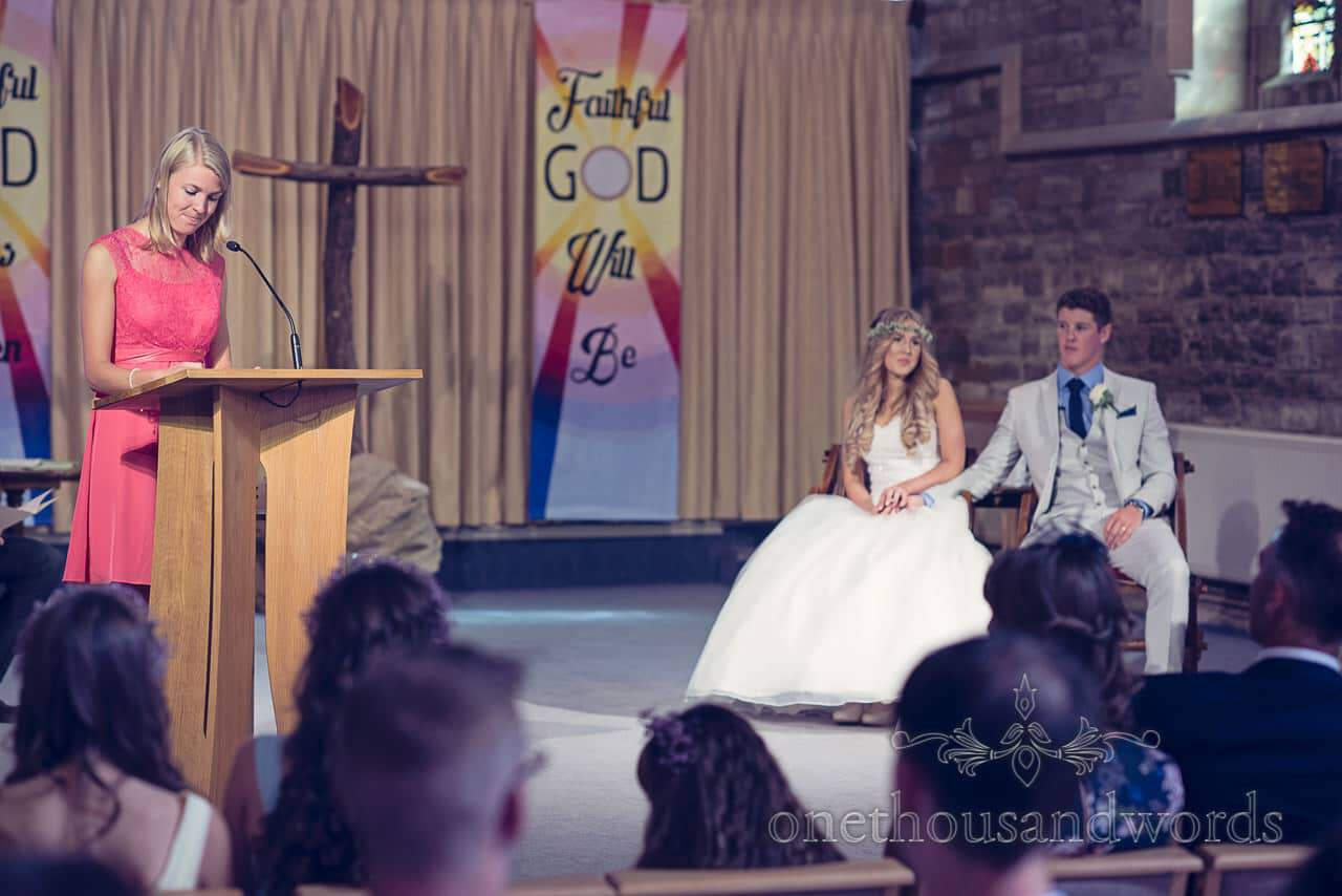 Wedding guest gives bible reading at St Marys Longleet church wedding service