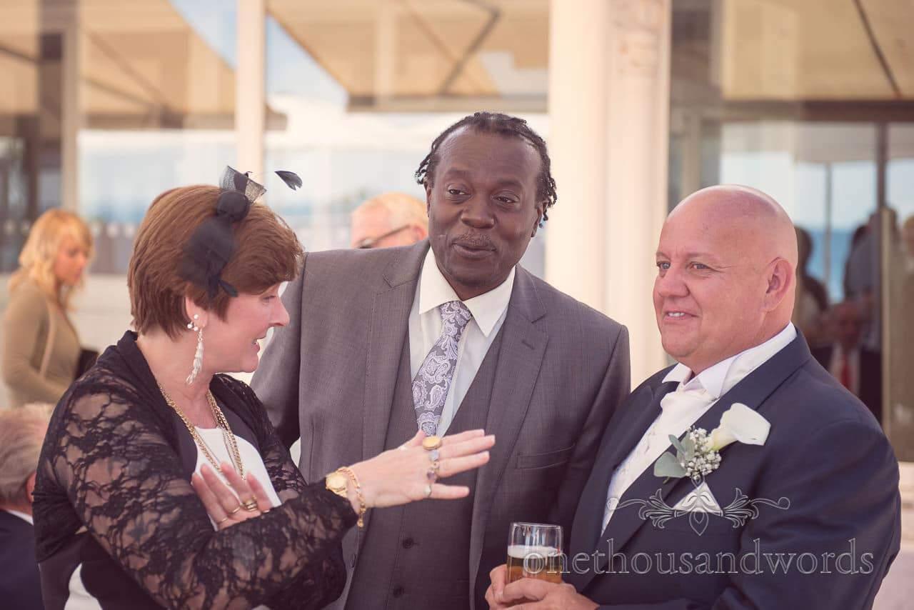 Wedding guests and groom at Sandbanks Hotel Wedding